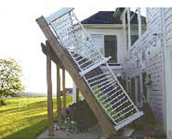 collapsed 2nd story deck
